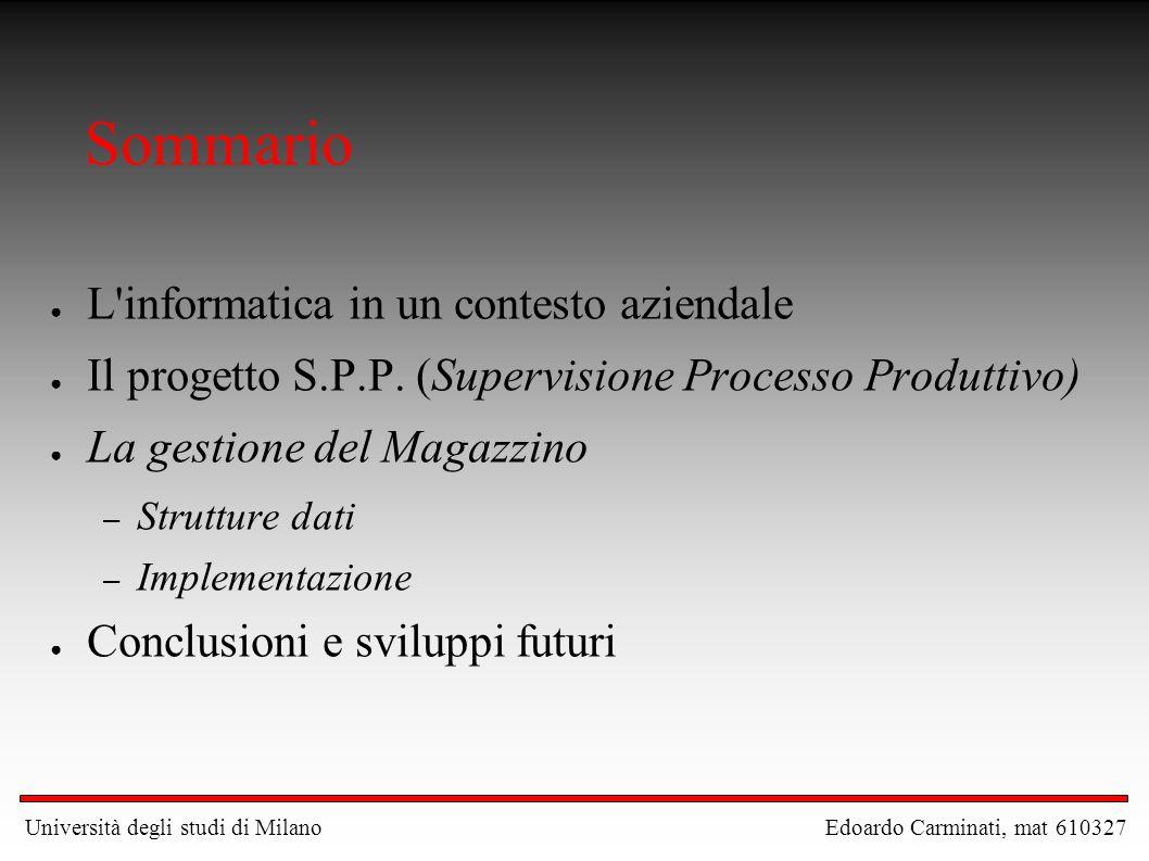 Sommario ● L'informatica in un contesto aziendale ● Il progetto S.P.P. (Supervisione Processo Produttivo) ● La gestione del Magazzino – Strutture dati