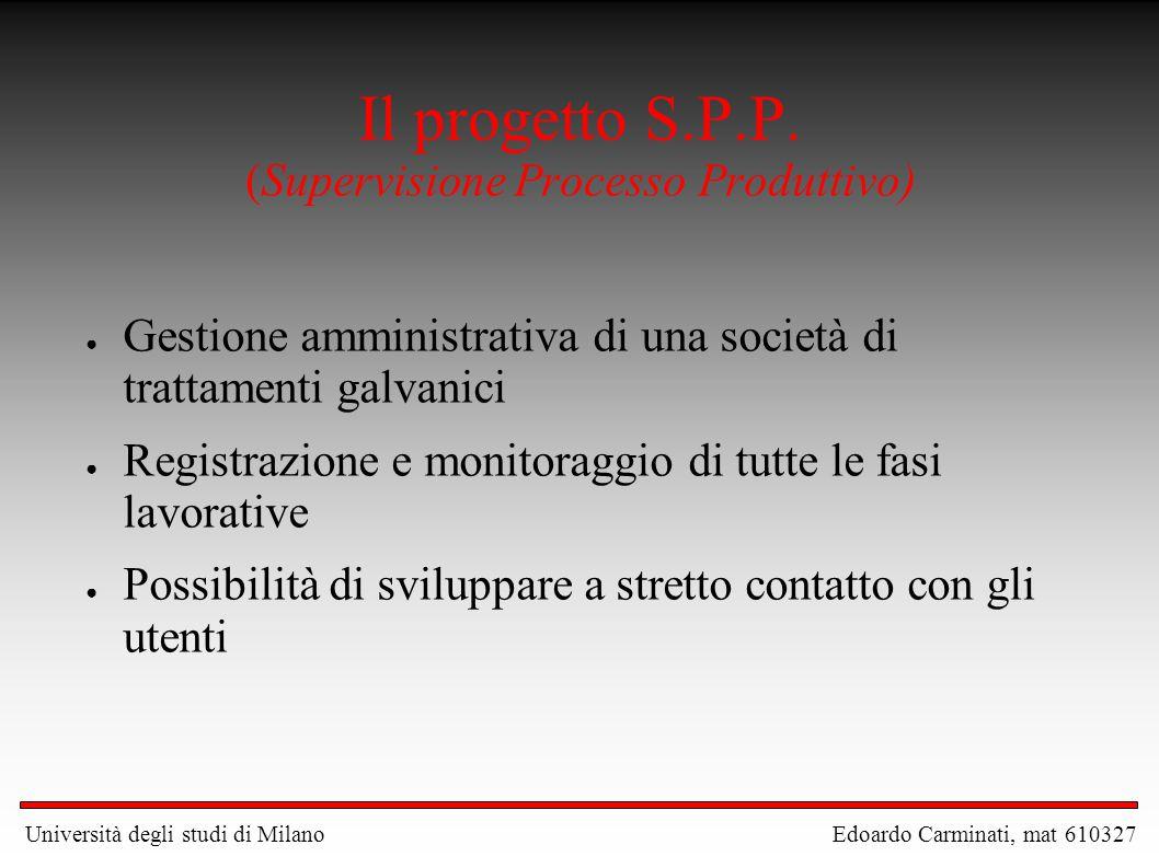 Il progetto S.P.P. (Supervisione Processo Produttivo) ● Gestione amministrativa di una società di trattamenti galvanici ● Registrazione e monitoraggio