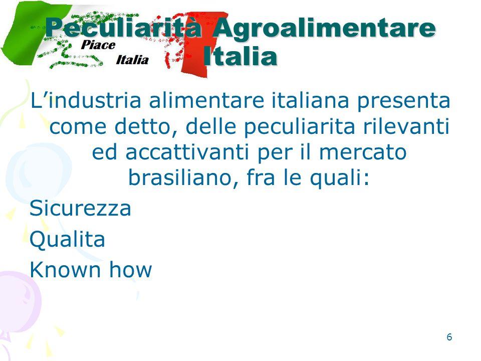 6 Peculiarità Agroalimentare Italia L'industria alimentare italiana presenta come detto, delle peculiarita rilevanti ed accattivanti per il mercato brasiliano, fra le quali: Sicurezza Qualita Known how
