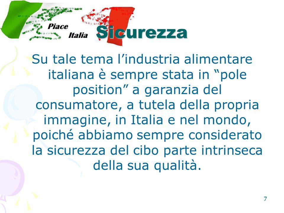 7 Sicurezza Su tale tema l'industria alimentare italiana è sempre stata in pole position a garanzia del consumatore, a tutela della propria immagine, in Italia e nel mondo, poiché abbiamo sempre considerato la sicurezza del cibo parte intrinseca della sua qualità.