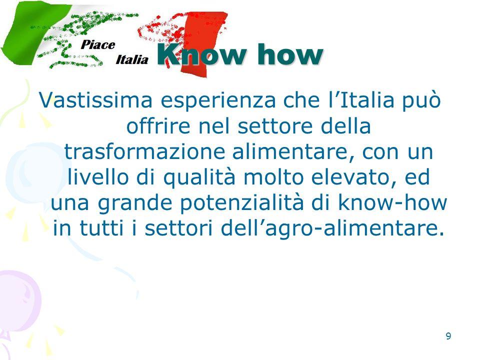 9 Know how Vastissima esperienza che l'Italia può offrire nel settore della trasformazione alimentare, con un livello di qualità molto elevato, ed una grande potenzialità di know-how in tutti i settori dell'agro-alimentare.