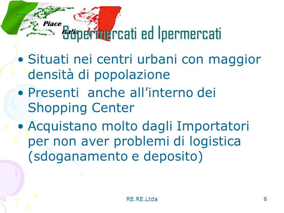 RE.RE.Ltda 6 Supermercati ed Ipermercati Situati nei centri urbani con maggior densità di popolazione Presenti anche all'interno dei Shopping Center A