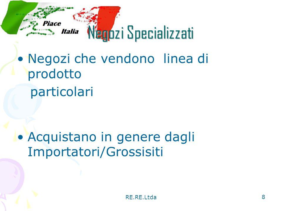RE.RE.Ltda 8 Negozi Specializzati Negozi che vendono linea di prodotto particolari Acquistano in genere dagli Importatori/Grossisiti