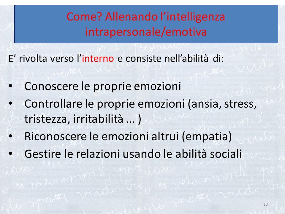 E' rivolta verso l'interno e consiste nell'abilità di: Conoscere le proprie emozioni Controllare le proprie emozioni (ansia, stress, tristezza, irrita