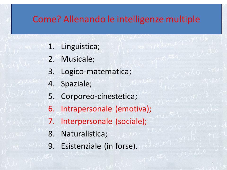 1.Linguistica; 2.Musicale; 3.Logico-matematica; 4.Spaziale; 5.Corporeo-cinestetica; 6.Intrapersonale (emotiva); 7.Interpersonale (sociale); 8.Naturali