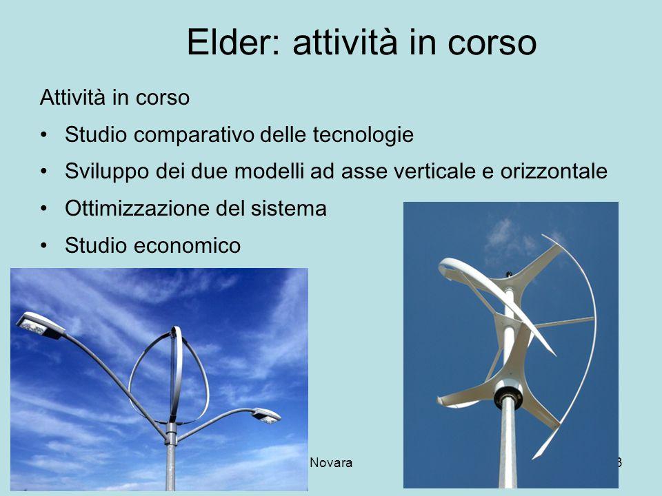 13 -11-2007Novara3 Elder: attività in corso Attività in corso Studio comparativo delle tecnologie Sviluppo dei due modelli ad asse verticale e orizzon