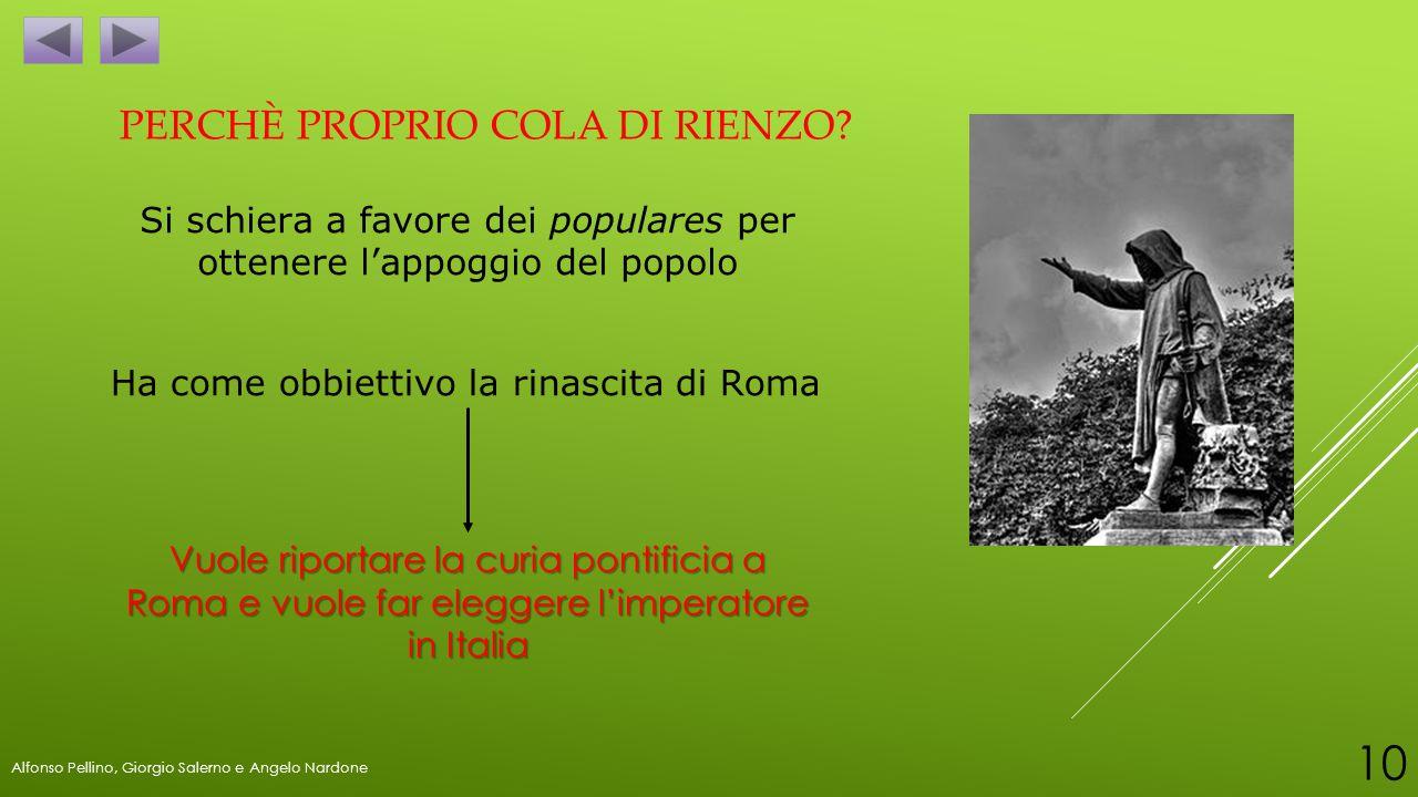 Si schiera a favore dei populares per ottenere l'appoggio del popolo Ha come obbiettivo la rinascita di Roma Vuole riportare la curia pontificia a Rom