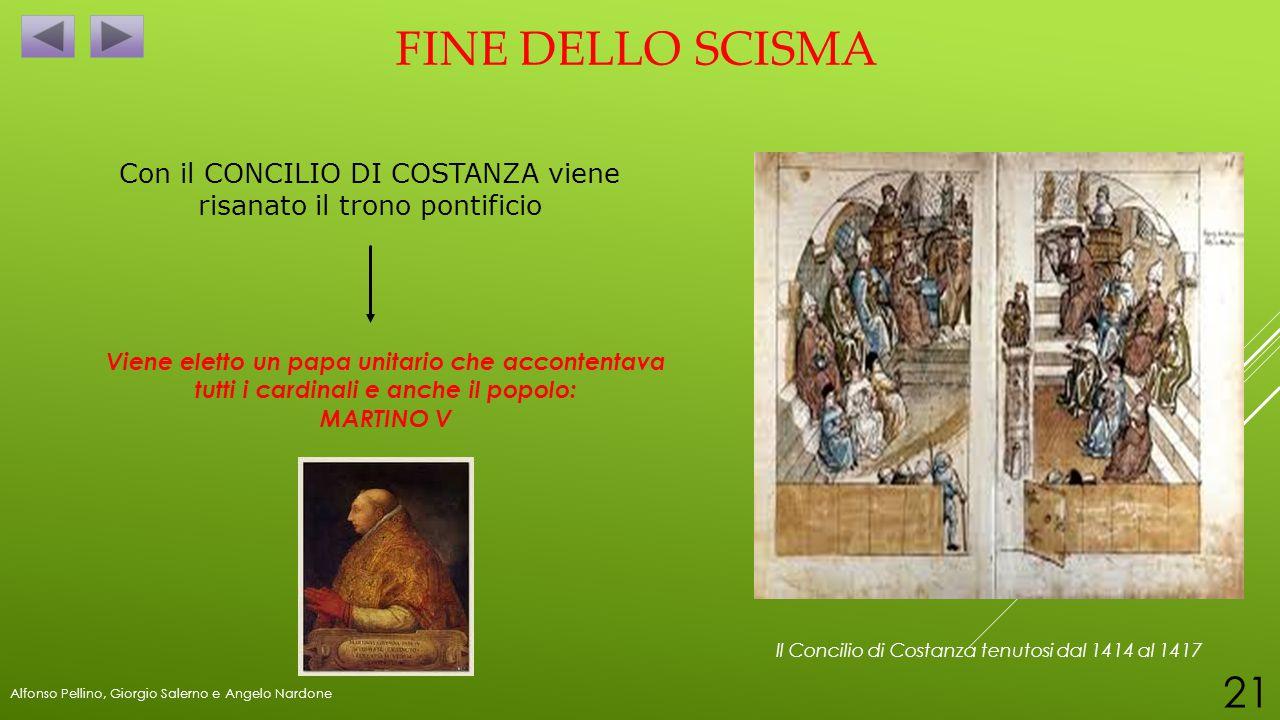 FINE DELLO SCISMA Con il CONCILIO DI COSTANZA viene risanato il trono pontificio Viene eletto un papa unitario che accontentava tutti i cardinali e an