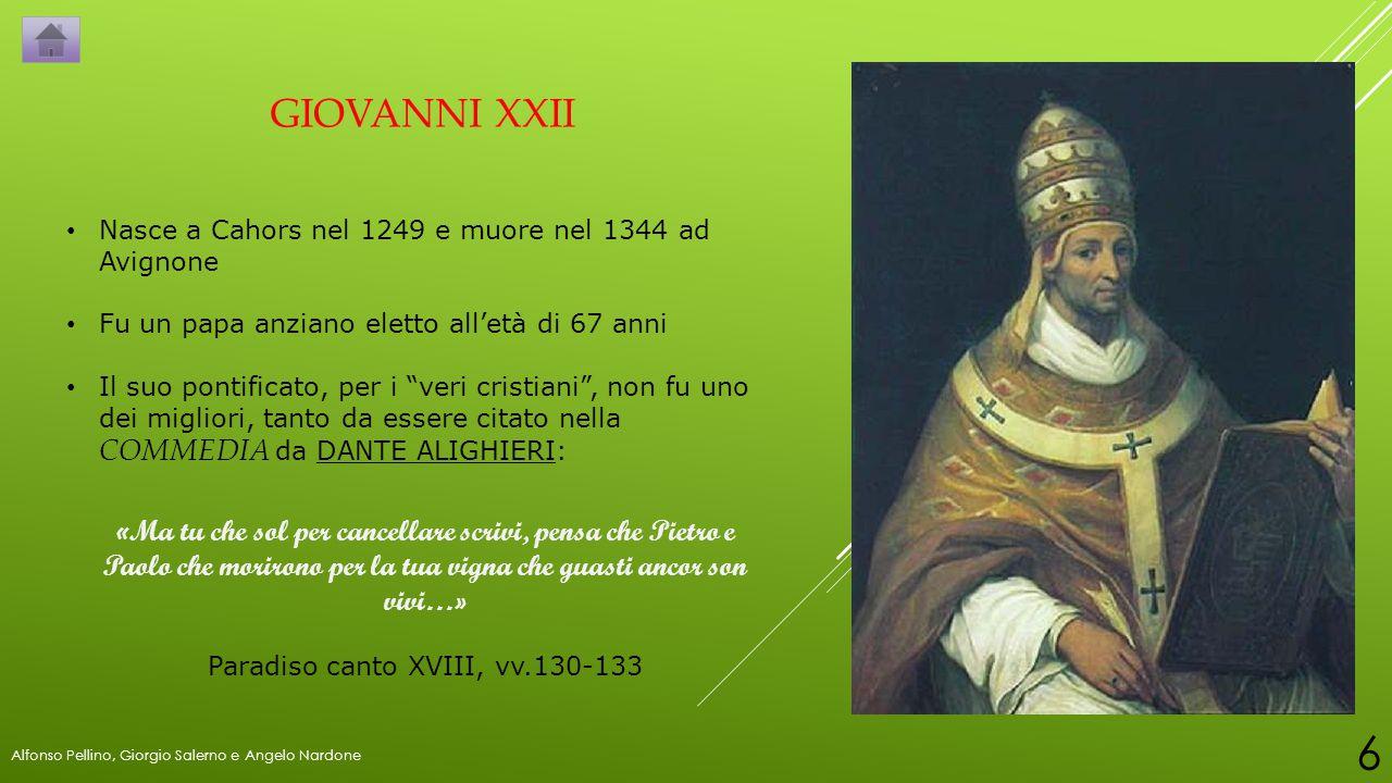 """GIOVANNI XXII Nasce a Cahors nel 1249 e muore nel 1344 ad Avignone Fu un papa anziano eletto all'età di 67 anni Il suo pontificato, per i """"veri cristi"""