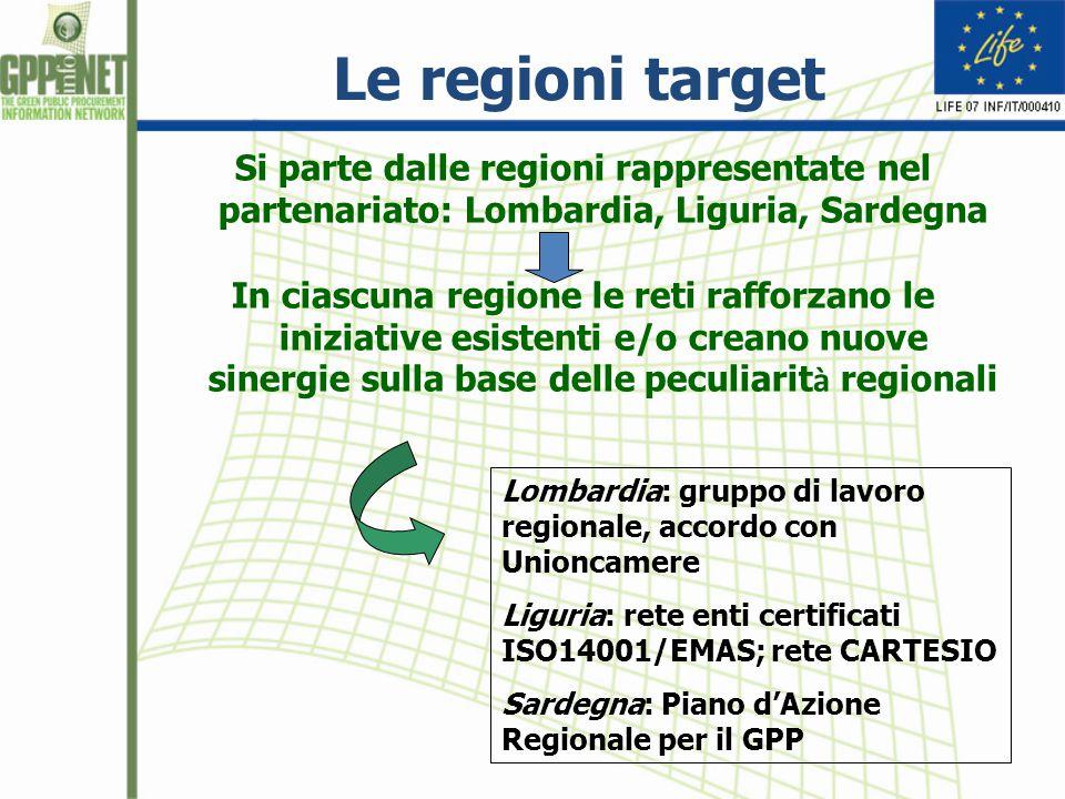 Le regioni target Si parte dalle regioni rappresentate nel partenariato: Lombardia, Liguria, Sardegna In ciascuna regione le reti rafforzano le iniziative esistenti e/o creano nuove sinergie sulla base delle peculiarit à regionali Lombardia: gruppo di lavoro regionale, accordo con Unioncamere Liguria: rete enti certificati ISO14001/EMAS; rete CARTESIO Sardegna: Piano d'Azione Regionale per il GPP
