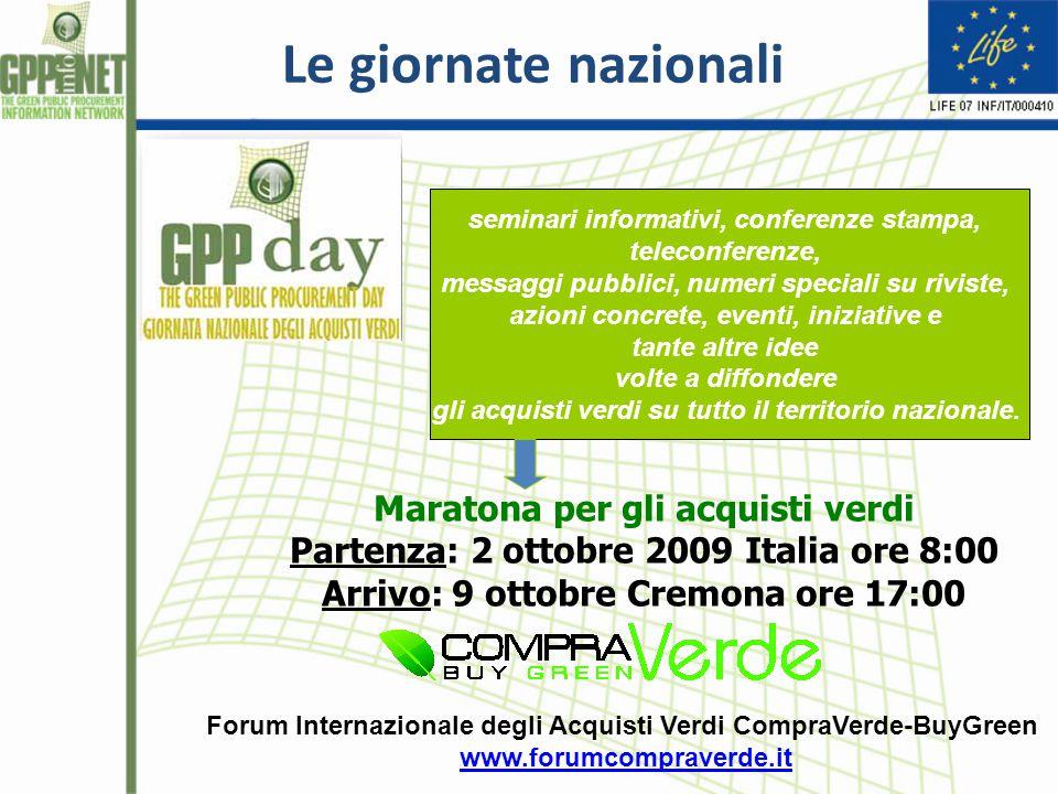 Le giornate nazionali Maratona per gli acquisti verdi Partenza: 2 ottobre 2009 Italia ore 8:00 Arrivo: 9 ottobre Cremona ore 17:00 seminari informativ