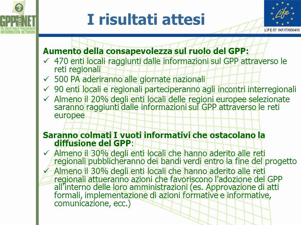 I risultati attesi Aumento della consapevolezza sul ruolo del GPP: 470 enti locali raggiunti dalle informazioni sul GPP attraverso le reti regionali 5