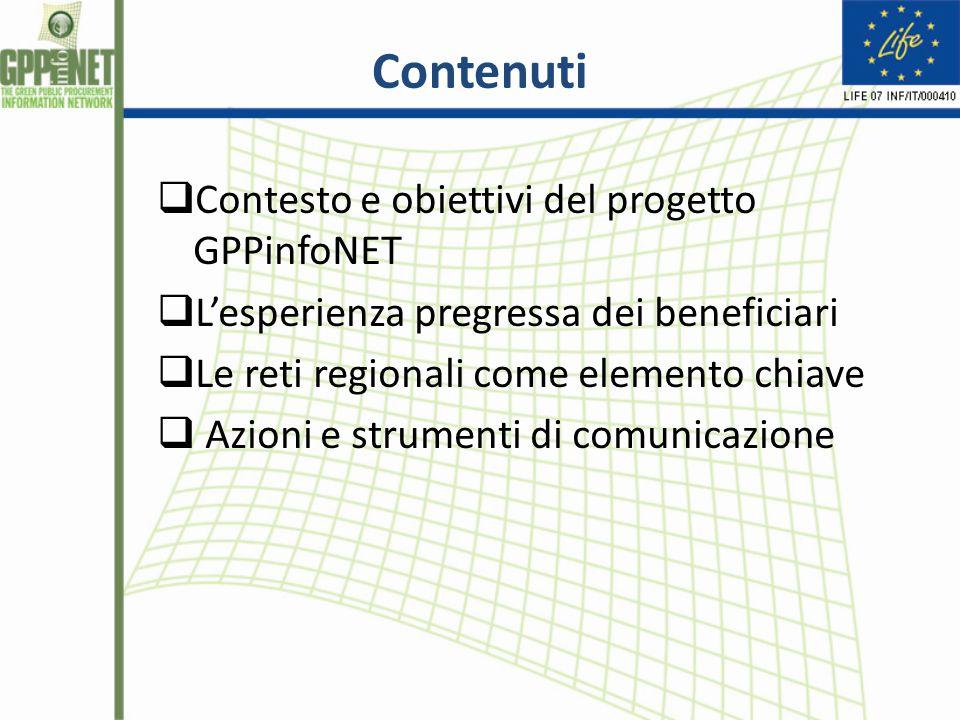 Contenuti  Contesto e obiettivi del progetto GPPinfoNET  L'esperienza pregressa dei beneficiari  Le reti regionali come elemento chiave  Azioni e