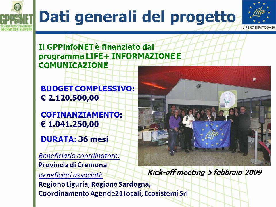 Dati generali del progetto BUDGET COMPLESSIVO: € 2.120.500,00 COFINANZIAMENTO: € 1.041.250,00 Beneficiario coordinatore: Provincia di Cremona Beneficiari associati: Regione Liguria, Regione Sardegna, Coordinamento Agende21 locali, Ecosistemi Srl DURATA: 36 mesi Kick-off meeting 5 febbraio 2009 Il GPPinfoNET è finanziato dal programma LIFE+ INFORMAZIONE E COMUNICAZIONE