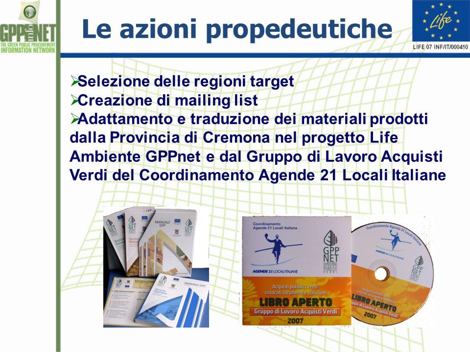  Selezione delle regioni target  Creazione di mailing list  Adattamento e traduzione dei materiali prodotti dalla Provincia di Cremona nel progetto