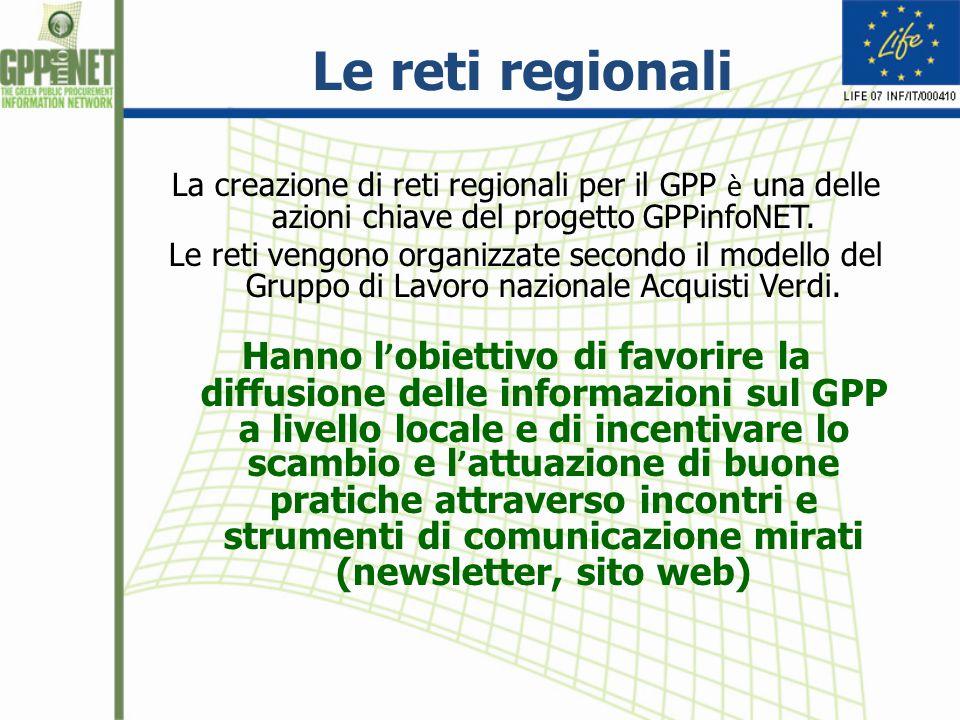 Le reti regionali La creazione di reti regionali per il GPP è una delle azioni chiave del progetto GPPinfoNET. Le reti vengono organizzate secondo il