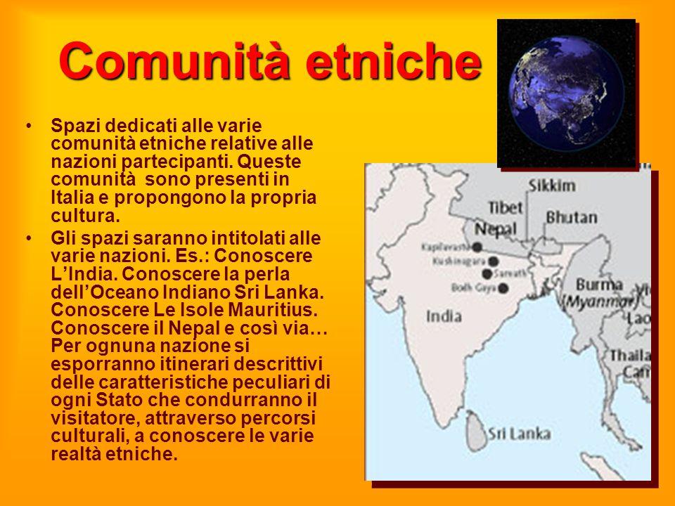 Comunità etniche Spazi dedicati alle varie comunità etniche relative alle nazioni partecipanti. Queste comunità sono presenti in Italia e propongono l