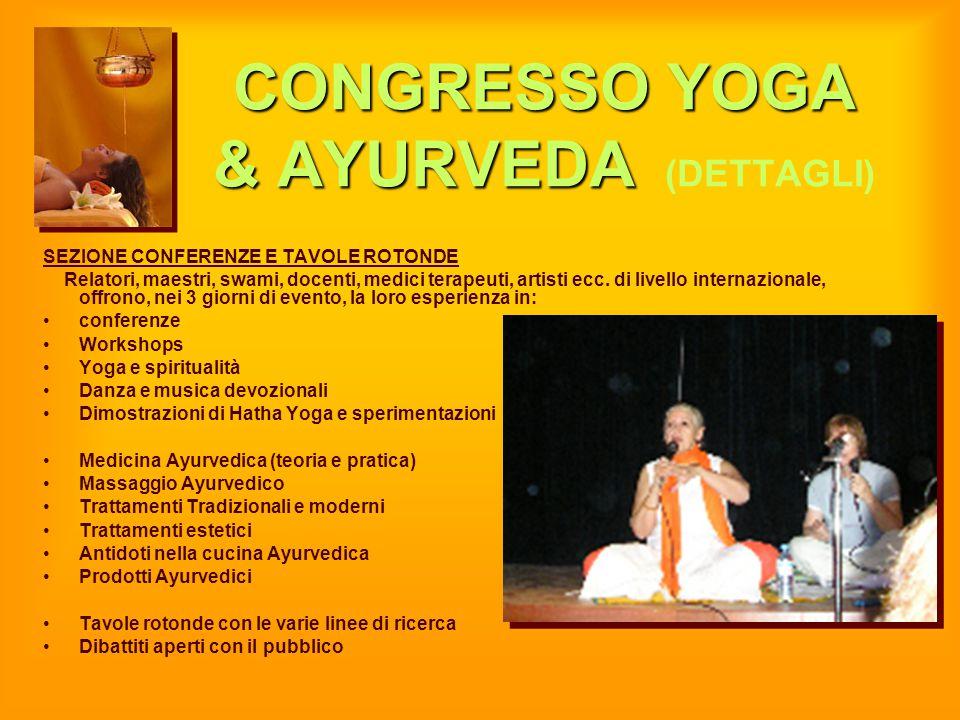 CONGRESSO YOGA & AYURVEDA CONGRESSO YOGA & AYURVEDA (DETTAGLI) SEZIONE CONFERENZE E TAVOLE ROTONDE Relatori, maestri, swami, docenti, medici terapeuti