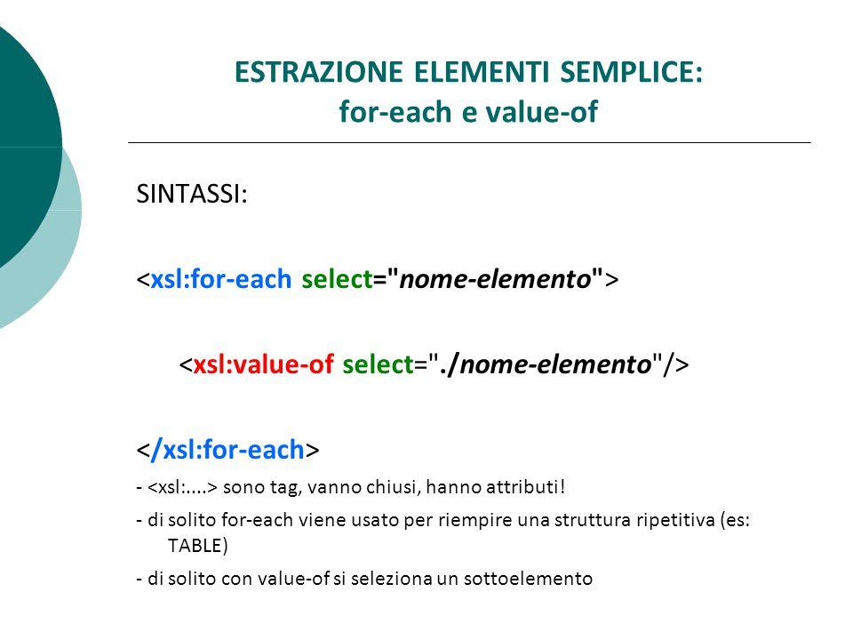 ESTRAZIONE ELEMENTI SEMPLICE: for-each e value-of SINTASSI: - sono tag, vanno chiusi, hanno attributi.