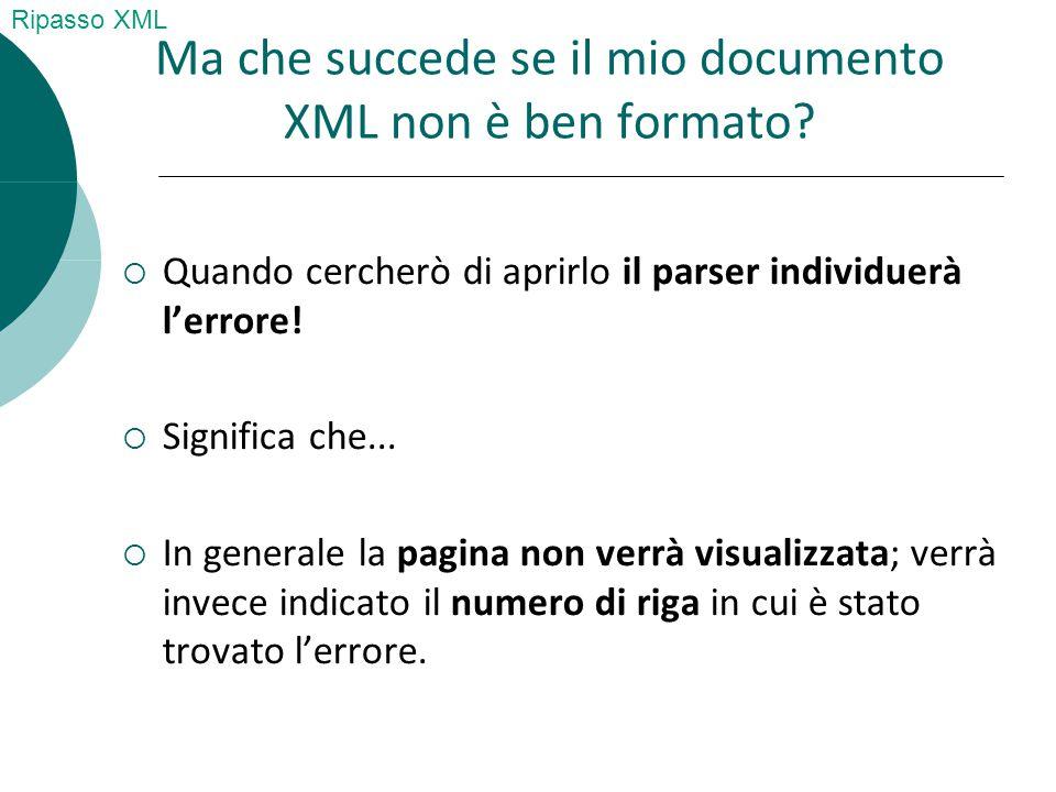 Ma che succede se il mio documento XML non è ben formato.