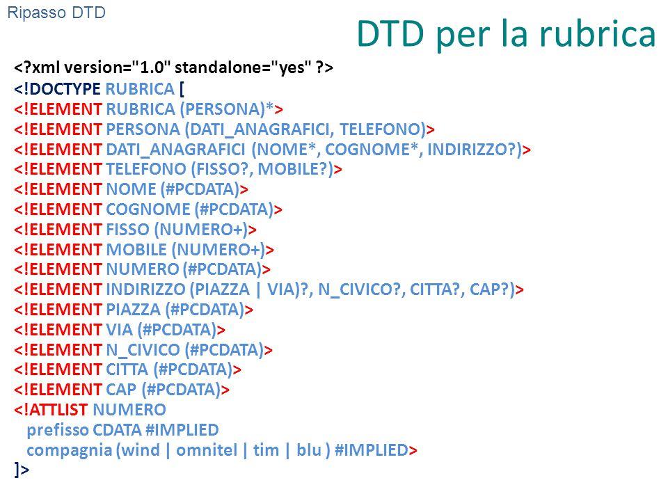 DTD per la rubrica ]> Ripasso DTD