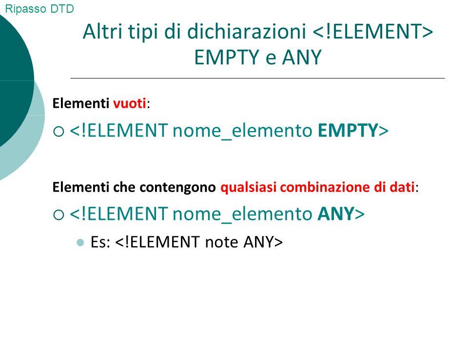 Altri tipi di dichiarazioni EMPTY e ANY Elementi vuoti:  Elementi che contengono qualsiasi combinazione di dati:  Es: Ripasso DTD