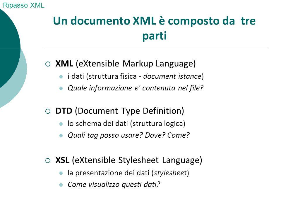 XSL XSL è un insieme di 3 linguaggi:  XPath individua gli elementi e gli attributi di un documento XML cui applicare le operazioni di formattazione  XSLT (XSL Tranformation) controlla l elaborazione dei dati e come presentarli  XSL-FO (XSL Formatting Objects) definisce un insieme di tag di formattazione Tutorial W3C: http://www.w3schools.com/xpath/default.asp