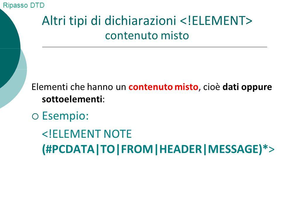 Altri tipi di dichiarazioni contenuto misto Elementi che hanno un contenuto misto, cioè dati oppure sottoelementi:  Esempio: Ripasso DTD