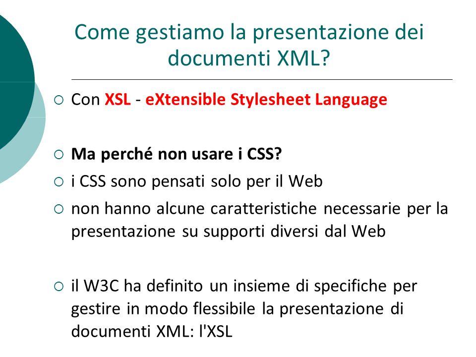 Come gestiamo la presentazione dei documenti XML.
