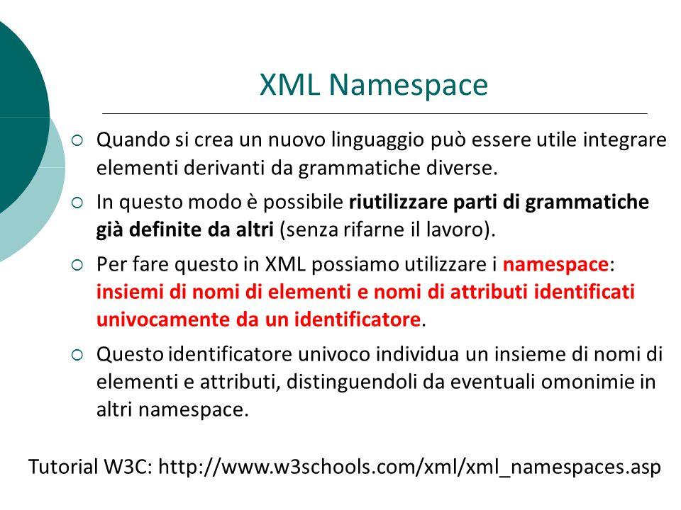 XML Namespace  Quando si crea un nuovo linguaggio può essere utile integrare elementi derivanti da grammatiche diverse.