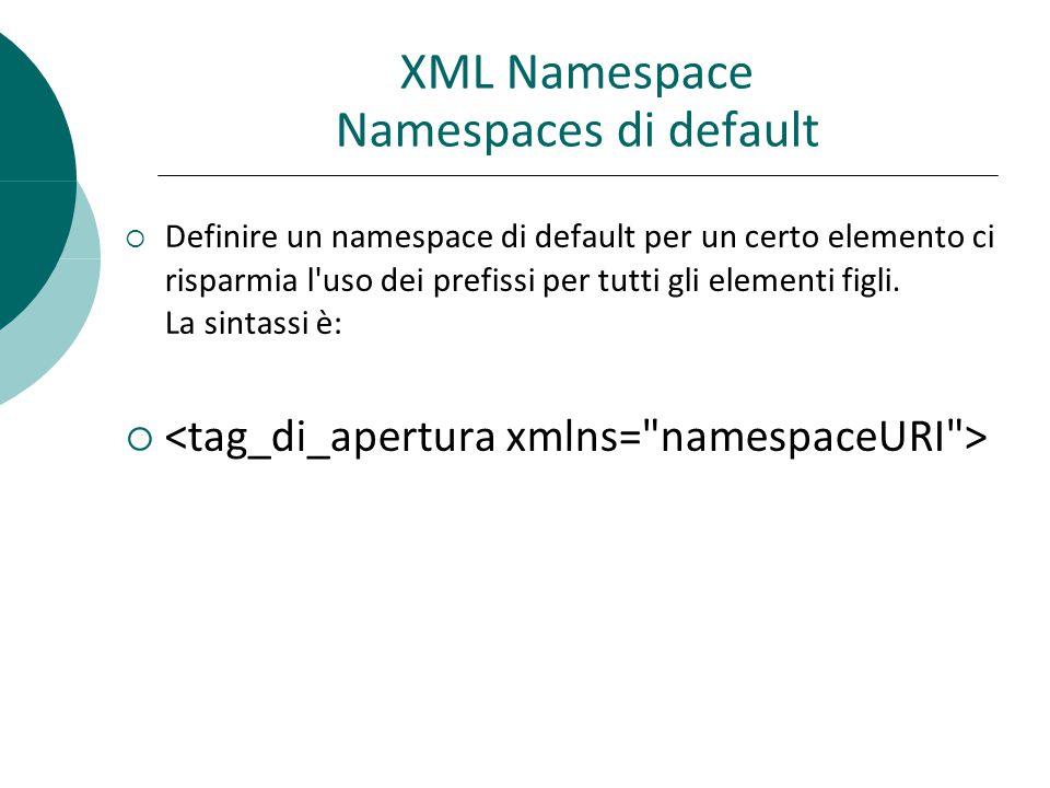 XML Namespace Namespaces di default  Definire un namespace di default per un certo elemento ci risparmia l uso dei prefissi per tutti gli elementi figli.