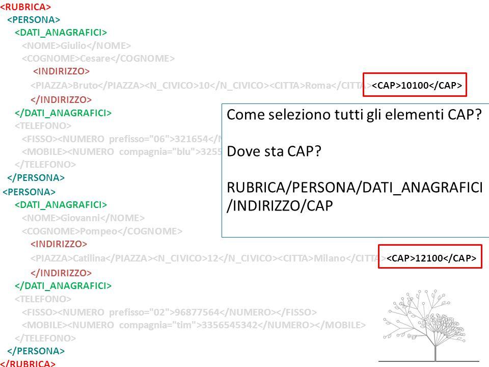 Giulio Cesare Bruto 10 Roma 10100 321654 32557684785 Giovanni Pompeo Catilina 12 Milano 12100 96877564 3356545342 Come seleziono tutti gli elementi CAP.