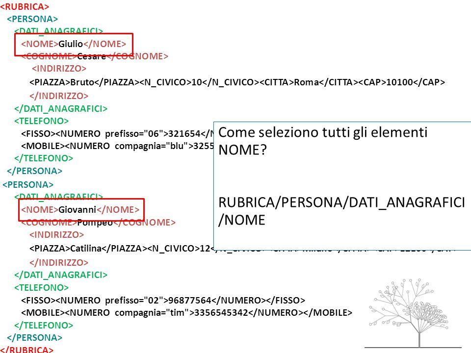 Giulio Cesare Bruto 10 Roma 10100 321654 32557684785 Giovanni Pompeo Catilina 12 Milano 12100 96877564 3356545342 Come seleziono tutti gli elementi NOME.