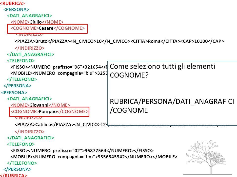 Giulio Cesare Bruto 10 Roma 10100 321654 32557684785 Giovanni Pompeo Catilina 12 Milano 12100 96877564 3356545342 Come seleziono tutti gli elementi COGNOME.
