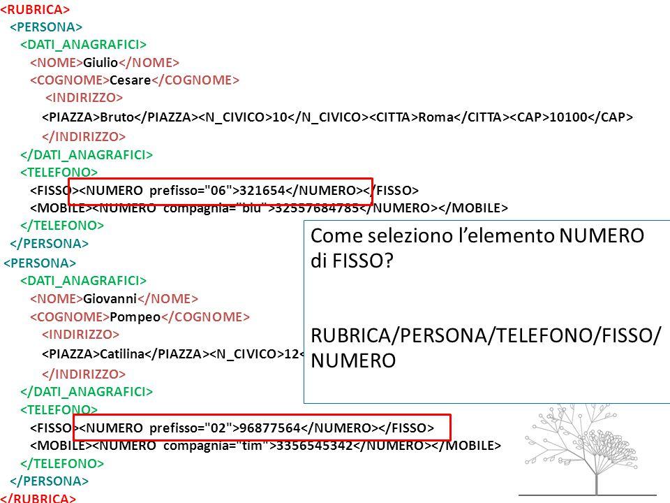 Giulio Cesare Bruto 10 Roma 10100 321654 32557684785 Giovanni Pompeo Catilina 12 Milano 12100 96877564 3356545342 Come seleziono l'elemento NUMERO di FISSO.