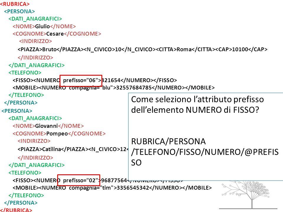 Giulio Cesare Bruto 10 Roma 10100 321654 32557684785 Giovanni Pompeo Catilina 12 Milano 12100 96877564 3356545342 Come seleziono l'attributo prefisso dell'elemento NUMERO di FISSO.