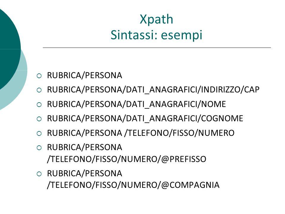  RUBRICA/PERSONA  RUBRICA/PERSONA/DATI_ANAGRAFICI/INDIRIZZO/CAP  RUBRICA/PERSONA/DATI_ANAGRAFICI/NOME  RUBRICA/PERSONA/DATI_ANAGRAFICI/COGNOME  RUBRICA/PERSONA /TELEFONO/FISSO/NUMERO  RUBRICA/PERSONA /TELEFONO/FISSO/NUMERO/@PREFISSO  RUBRICA/PERSONA /TELEFONO/FISSO/NUMERO/@COMPAGNIA Xpath Sintassi: esempi