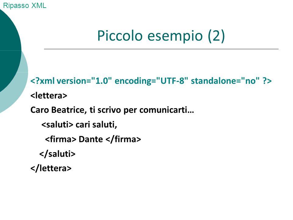 Riassumendo I documenti XML si possono considerare formati da cinque blocchi (building blocks):  Commenti  Elementi  Attributi (con i loro valori)  Entità  CDATA  PCDATA Ripasso XML
