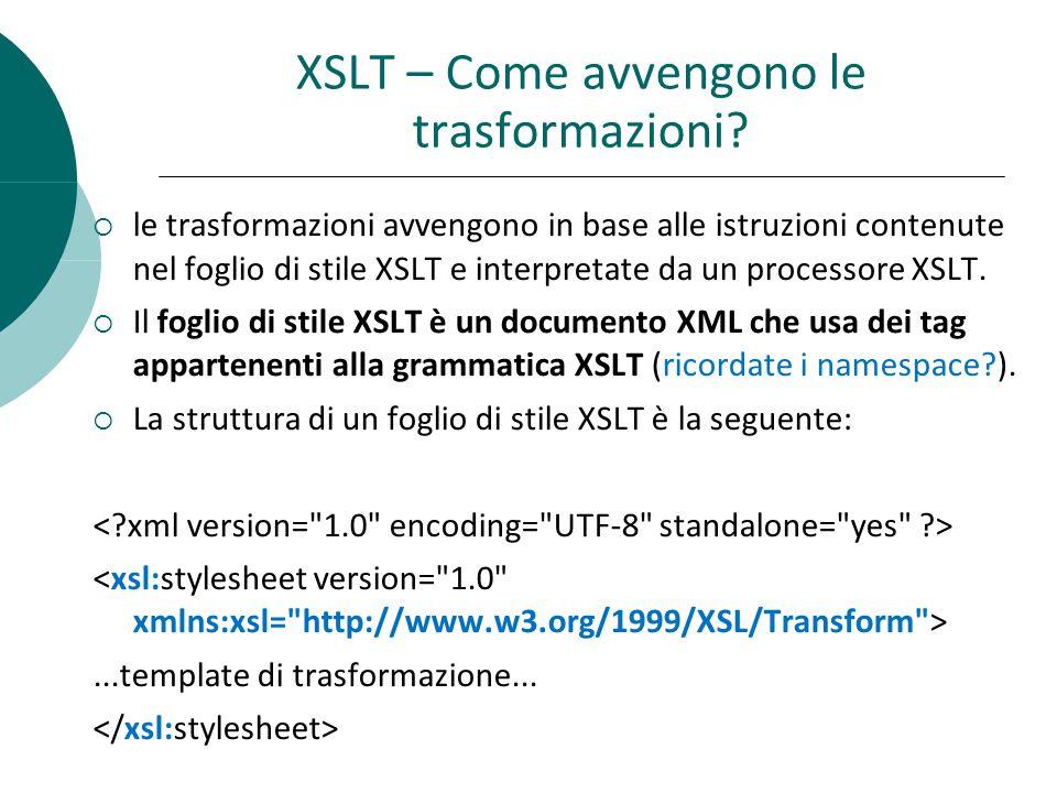 XSLT – Come avvengono le trasformazioni.