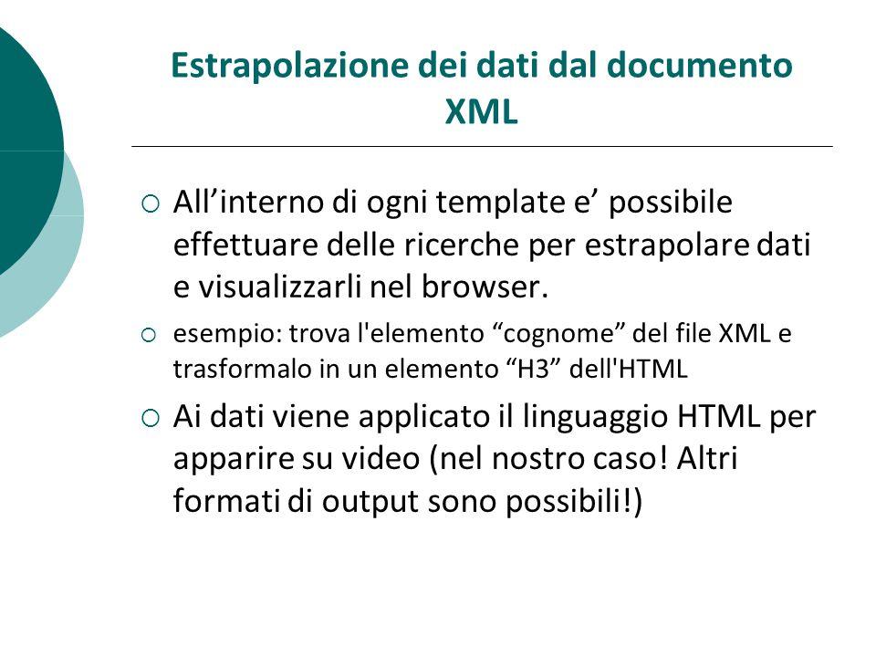 Estrapolazione dei dati dal documento XML  All'interno di ogni template e' possibile effettuare delle ricerche per estrapolare dati e visualizzarli nel browser.