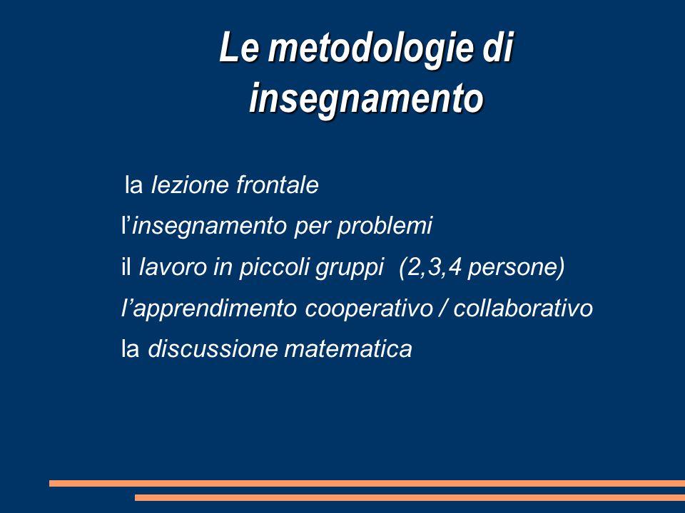 la lezione frontale l'insegnamento per problemi il lavoro in piccoli gruppi (2,3,4 persone) l'apprendimento cooperativo / collaborativo la discussion
