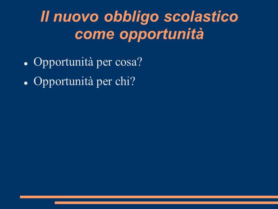 Il nuovo obbligo scolastico come opportunità Opportunità per cosa? Opportunità per chi?