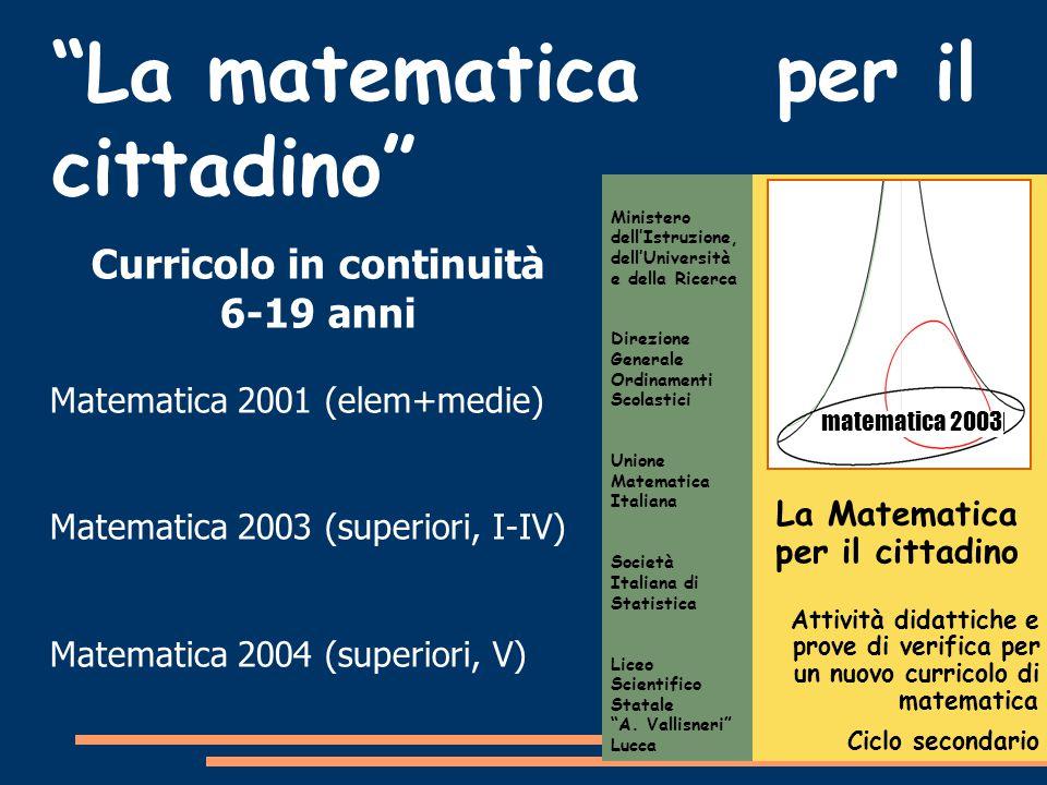 La Matematica per il cittadino Attività didattiche e prove di verifica per un nuovo curricolo di matematica Ciclo secondario Ministero dell'Istruzione