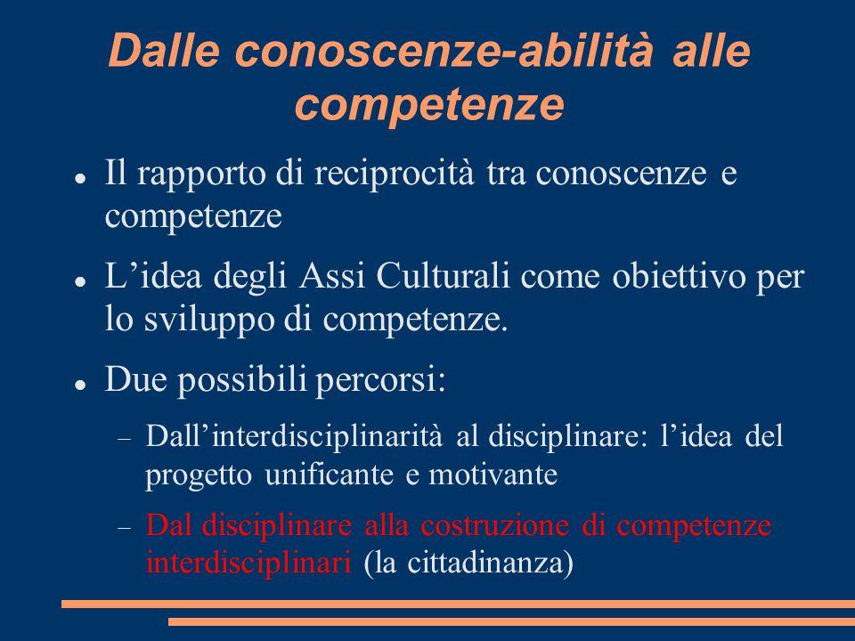 Dalle conoscenze-abilità alle competenze Il rapporto di reciprocità tra conoscenze e competenze L'idea degli Assi Culturali come obiettivo per lo svil