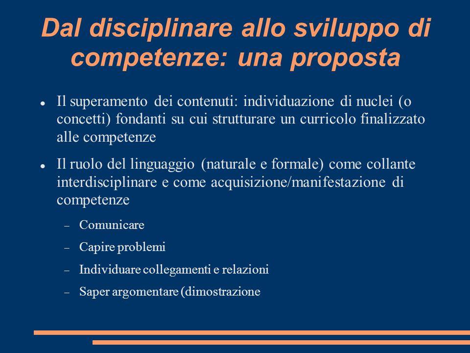 Dal disciplinare allo sviluppo di competenze: una proposta Il superamento dei contenuti: individuazione di nuclei (o concetti) fondanti su cui struttu