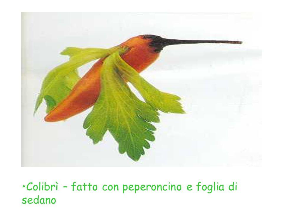 Colibrì – fatto con peperoncino e foglia di sedano