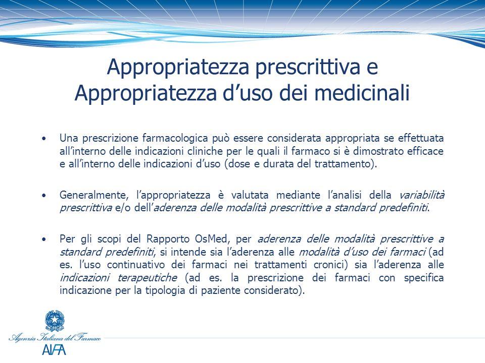Appropriatezza prescrittiva e Appropriatezza d'uso dei medicinali Una prescrizione farmacologica può essere considerata appropriata se effettuata all'