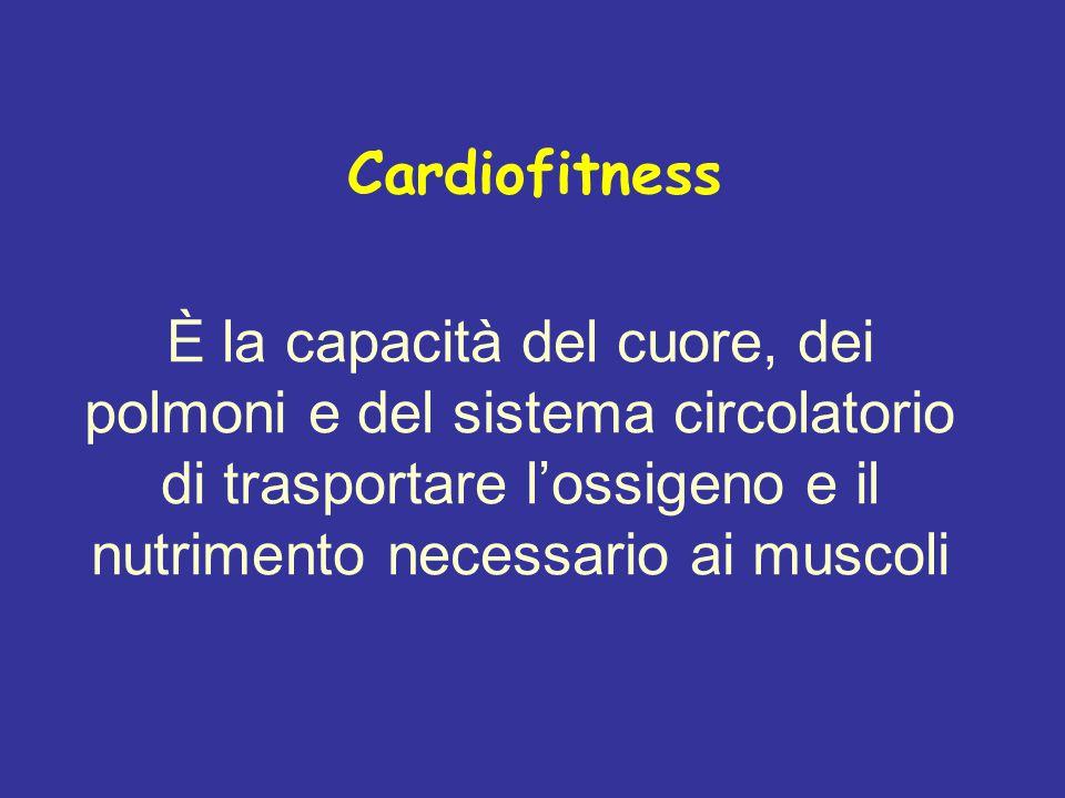Cardiofitness È la capacità del cuore, dei polmoni e del sistema circolatorio di trasportare l'ossigeno e il nutrimento necessario ai muscoli