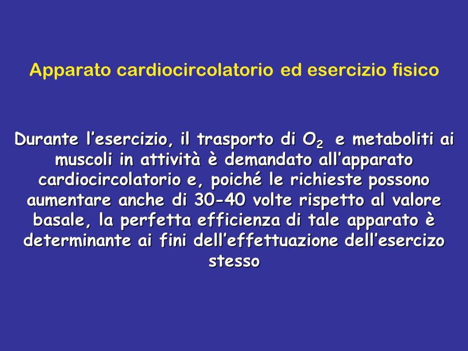 Apparato cardiocircolatorio ed esercizio fisico Durante l'esercizio, il trasporto di O 2 e metaboliti ai muscoli in attività è demandato all'apparato cardiocircolatorio e, poiché le richieste possono aumentare anche di 30-40 volte rispetto al valore basale, la perfetta efficienza di tale apparato è determinante ai fini dell'effettuazione dell'esercizo stesso