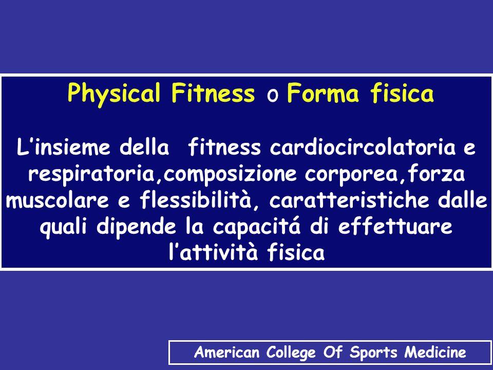 Physical Fitness o Forma fisica L'insieme della fitness cardiocircolatoria e respiratoria,composizione corporea,forza muscolare e flessibilità, caratteristiche dalle quali dipende la capacitá di effettuare l'attività fisica American College Of Sports Medicine